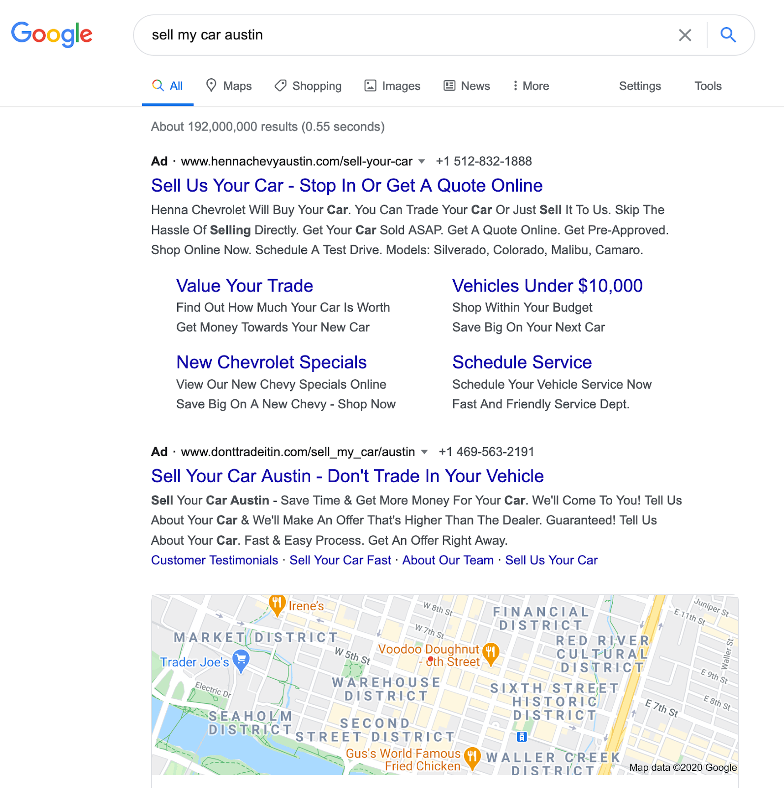 Results generated by Google search of 'Sell my car Austin'.