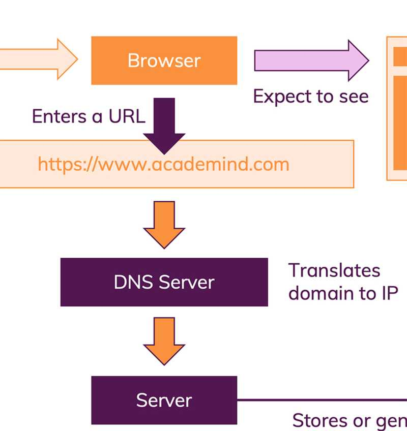 A DNS server translates the domain in the URL to an IP address.