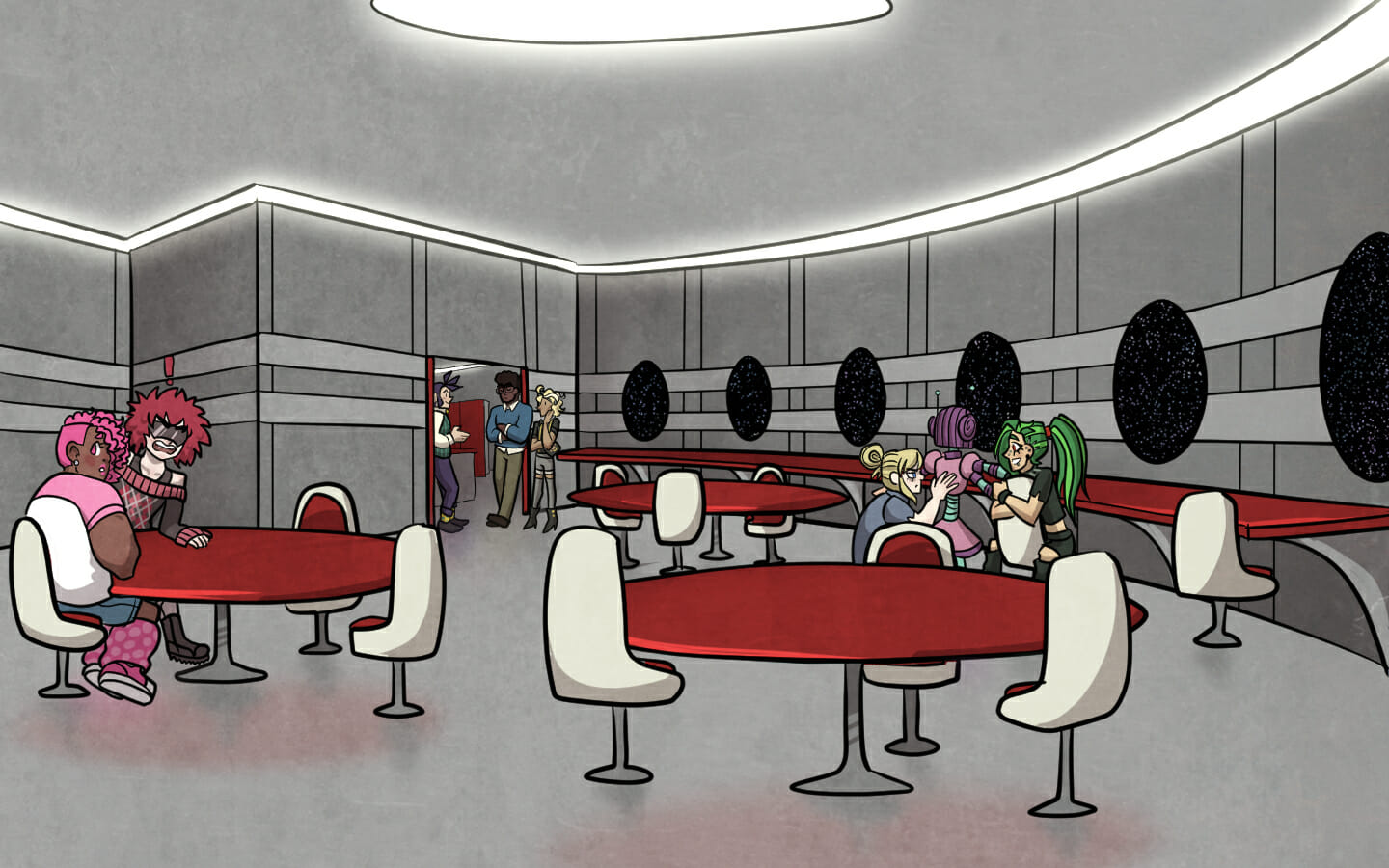 The cafeteria. Aoi and Vasundhara sit at one table, while Jurou, Tiffani, and Ping huddle near another. Nikola, Salvatore, and Siegfried stand in the kitchen.