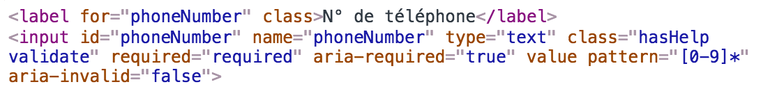 Incorrect pattern attribute for a phone number