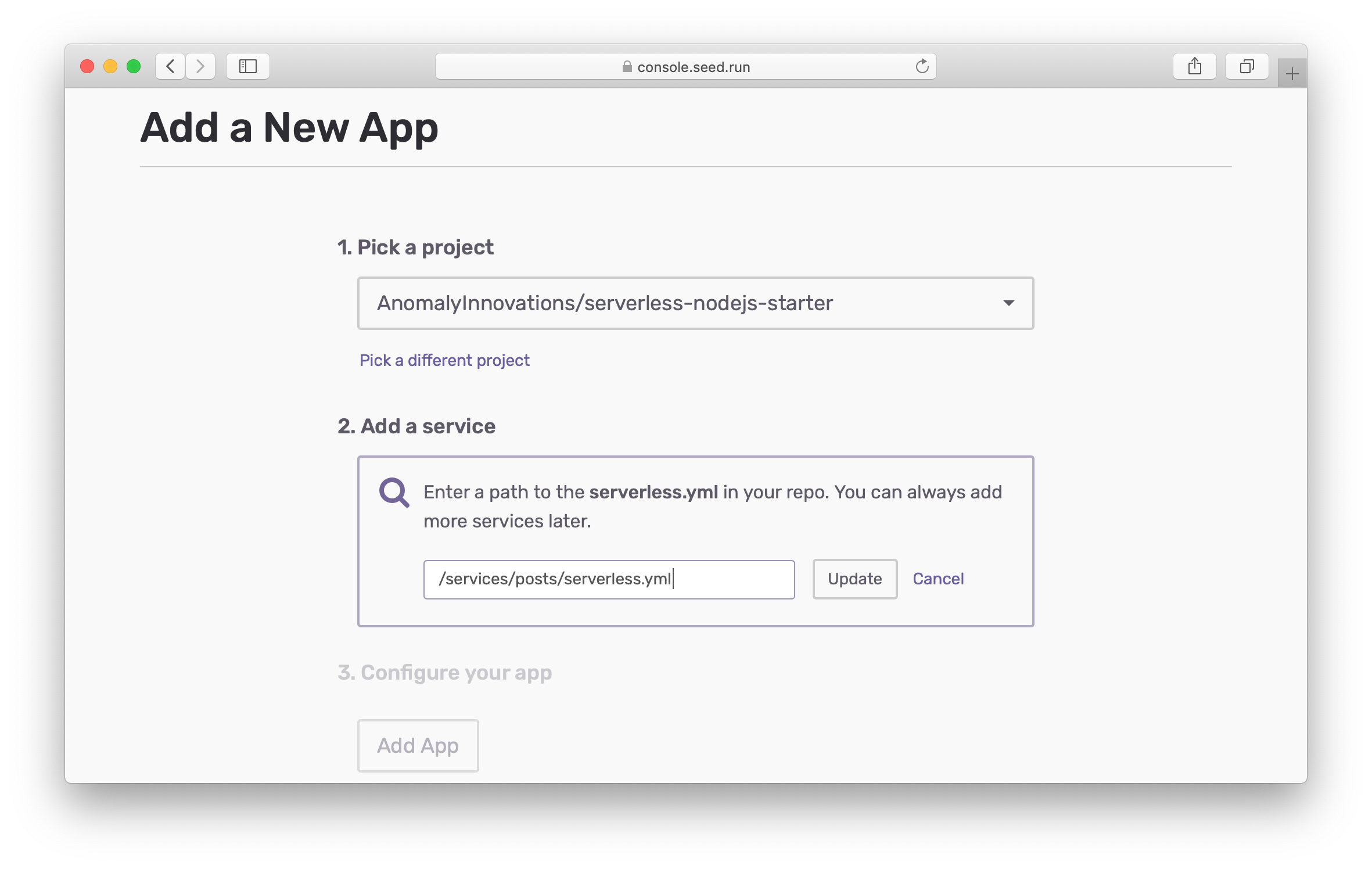 Pick different default service for new app