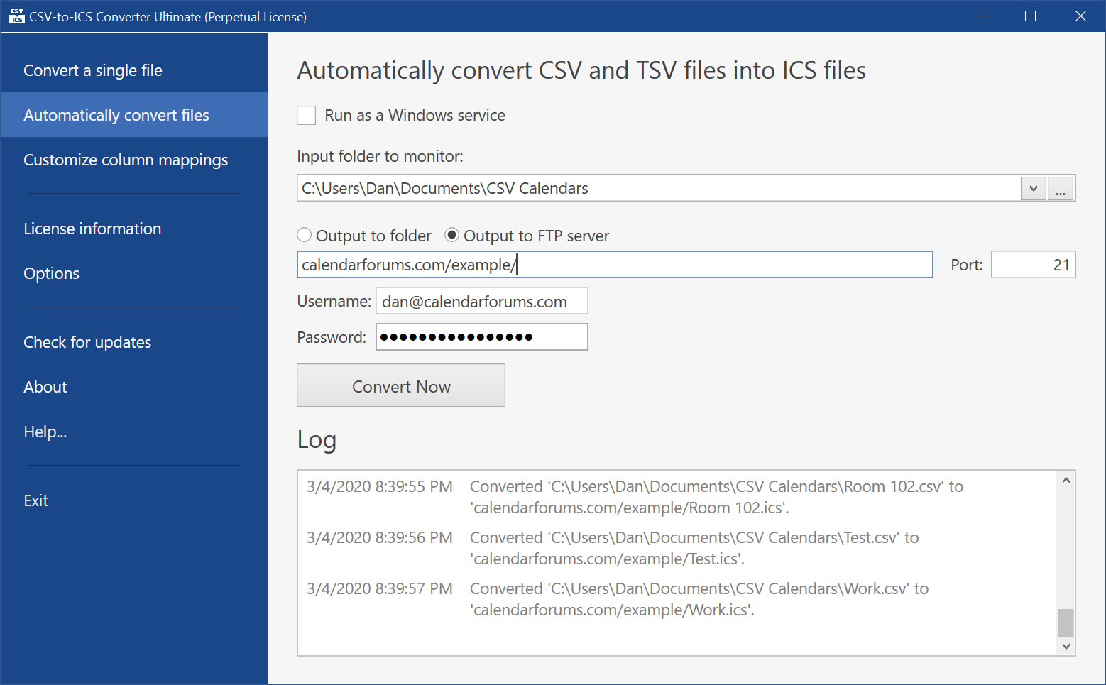 CSV files can be monitored and corresponding ICS files automatically generated when changes are detected. The ICS files can even be uploaded to a website.