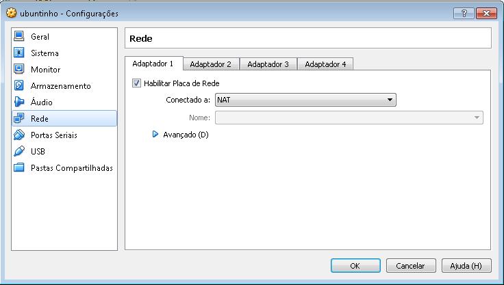 Configurações de Rede VBox