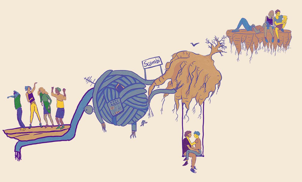 L'illustrazione principale di Scambi: un mondo immaginario fatto di incontri