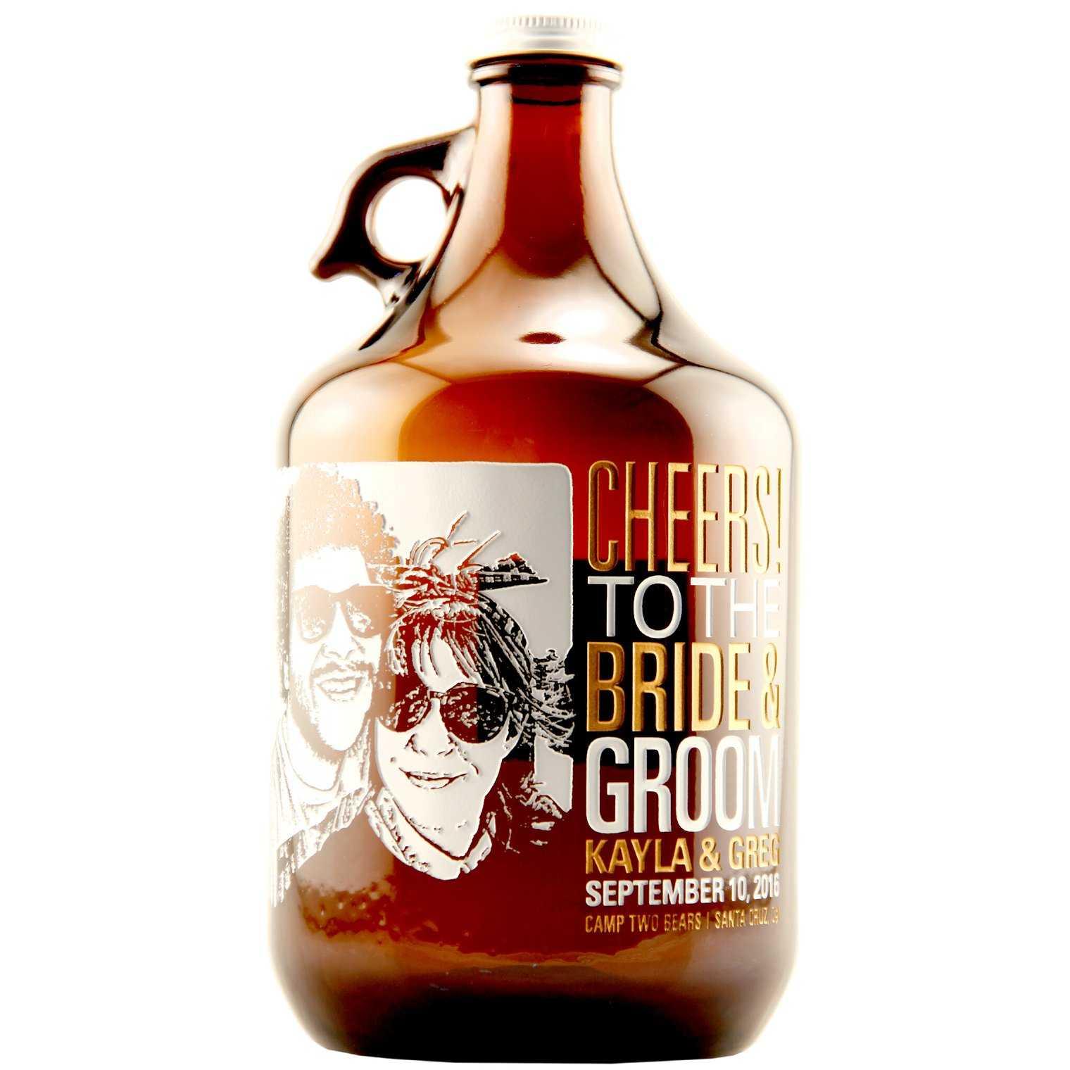 Bride and groom custom beer growler