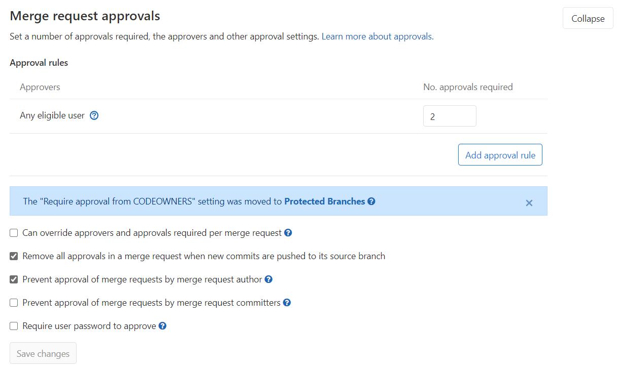 GitLab merge request approvals