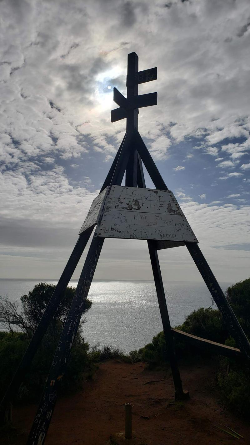 Trig station (physical reference point used for navigation) at the end of the peninsula