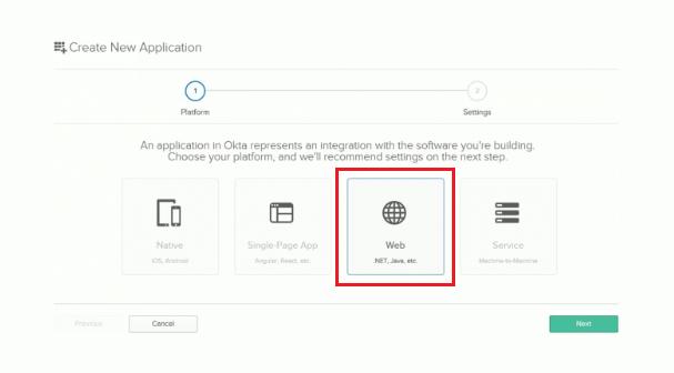 Okta New Web Application