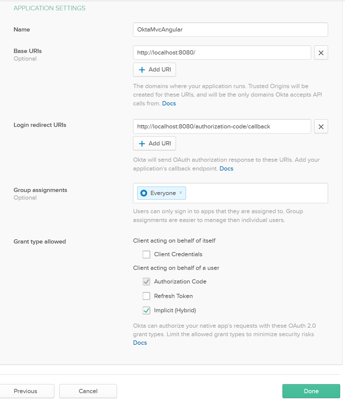 okta application settings
