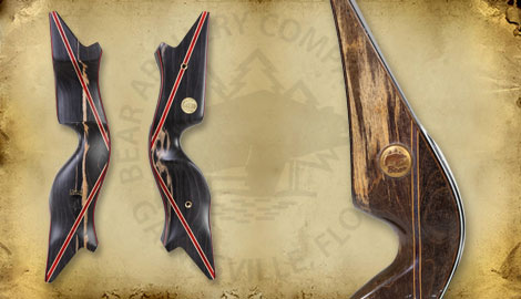 Left and right view of Futurewood bow and closeup of Futurewood birthmark