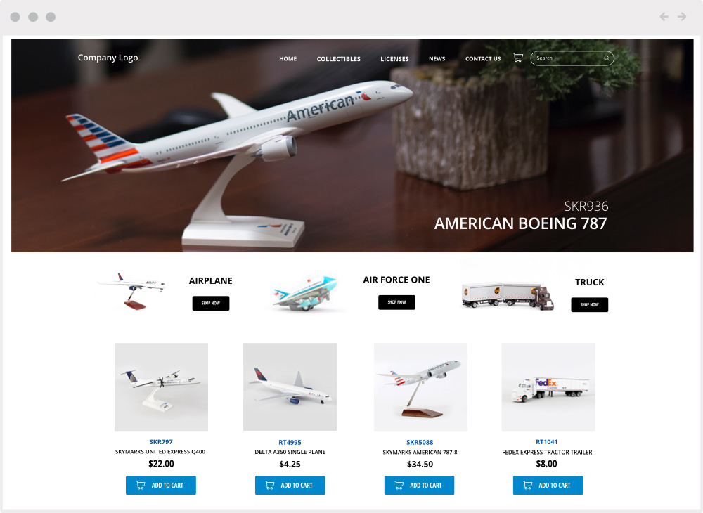 ecommerce model airplanes mock up