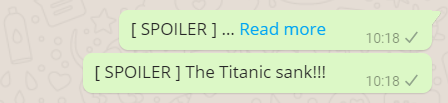 A spoiler tag in WhatsApp