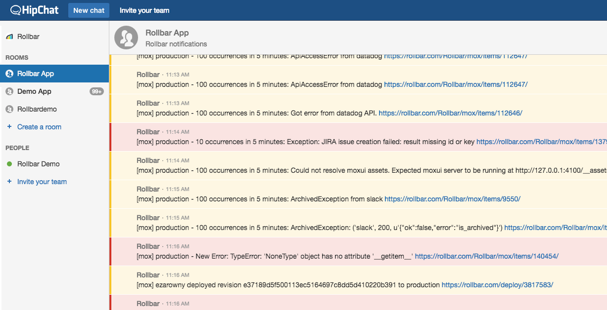 Real-time alerts in HipChat