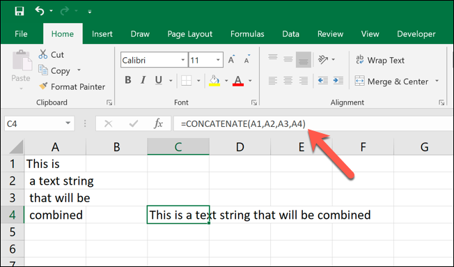 A screen grab from Excel showing a basic CONCATENATE formula in action