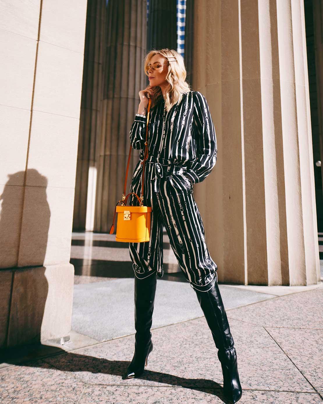 L'AGENCE - blouse Bardot band collar and band Samira wide paperbag