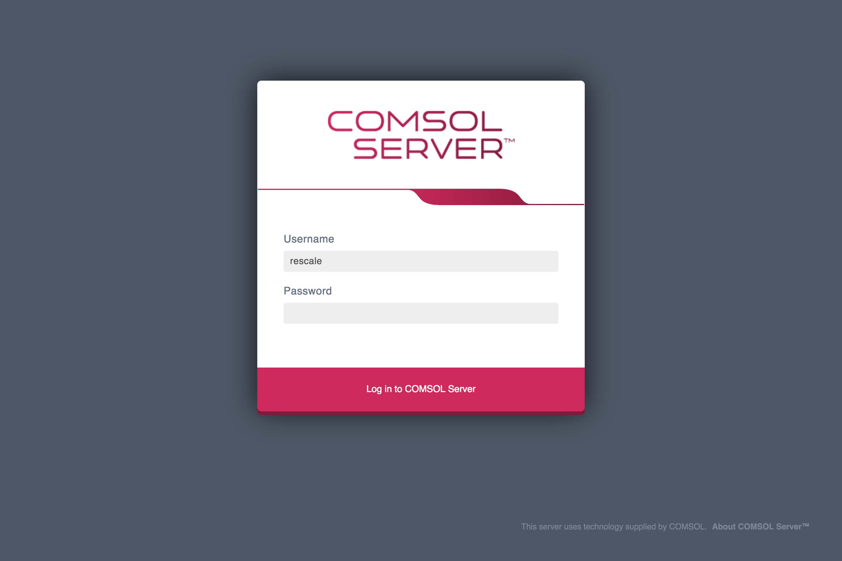 COMSOL Server Login