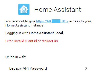 Screenshot of Error: invalid client id or redirect url