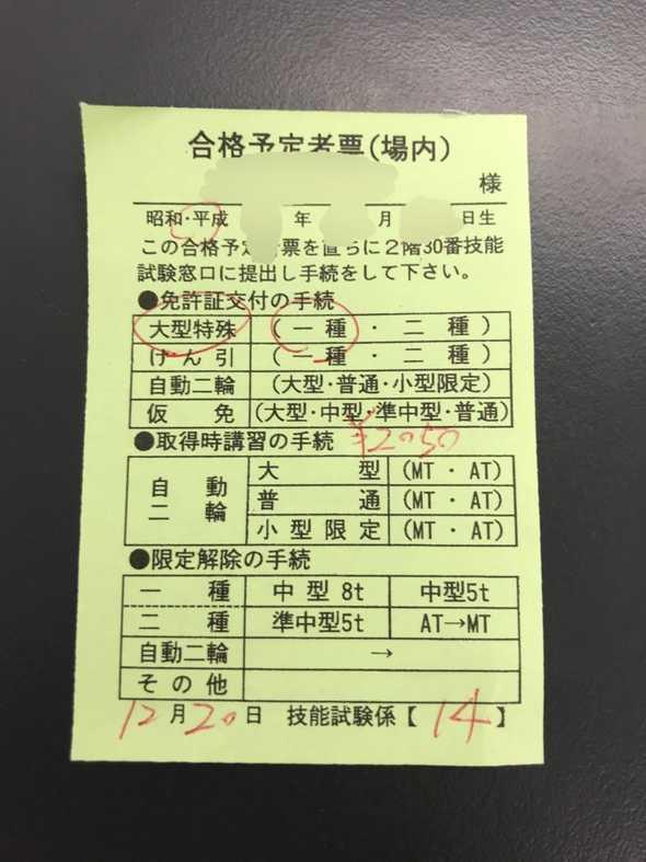 合格予定者表と書かれた紙切れ