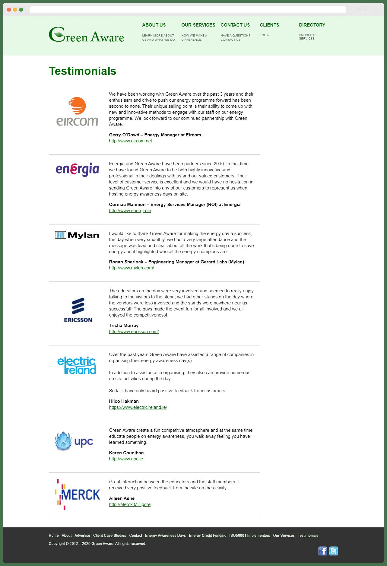 Green Aware Testimonials Page
