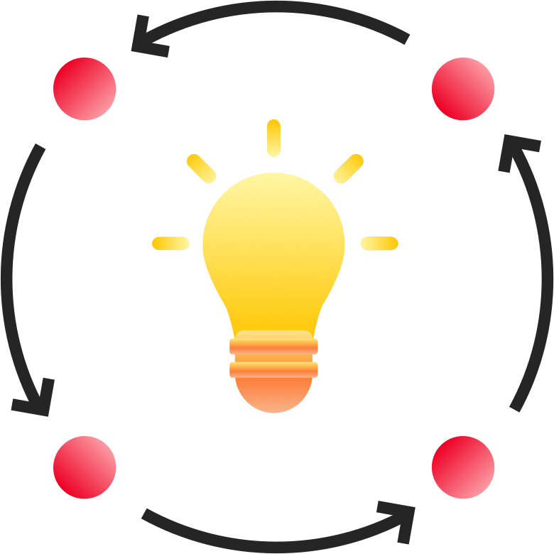 An image of a lit light bulb with four smaller red bubbles surrounding it in a circle with arrows pointing from one to the next bubble.