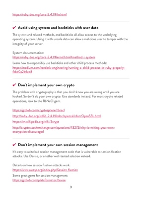 Ruby Security Checklist page 2