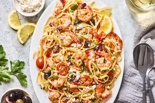 Greek Shrimp Scampi Pasta