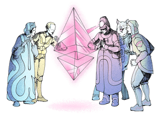 Illustration of a group of people marvelling at an ether (ETH) glyph in awe.