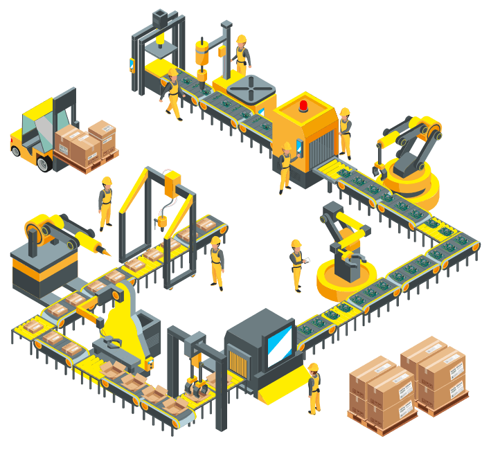 An isometric drawing of a manufacturing production line.