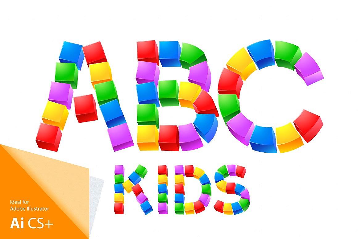 Alphabet of Kid's Blocks typefaces Cubes-kids_1.jpg