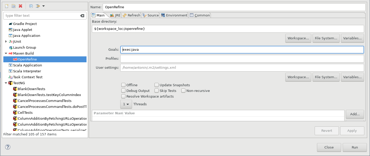 Screenshot of Add a run configuration with the exec:java goal