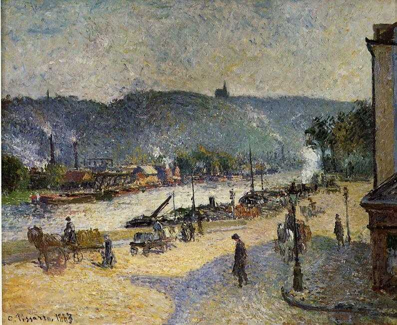 'The Quays at Rouen' (1883) by Camille Pissarro