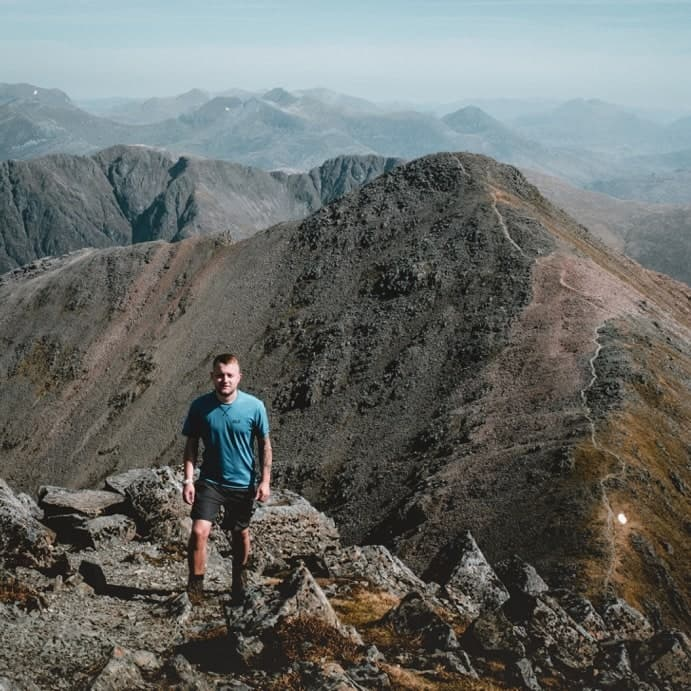 Photo of Chris climbing Bidean Nam Bian in Scotland