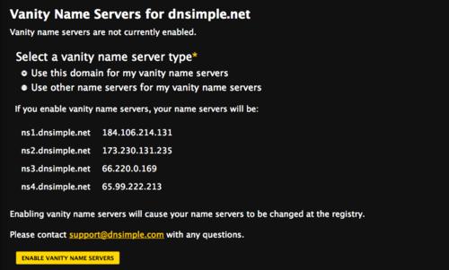 Vanity Name Servers
