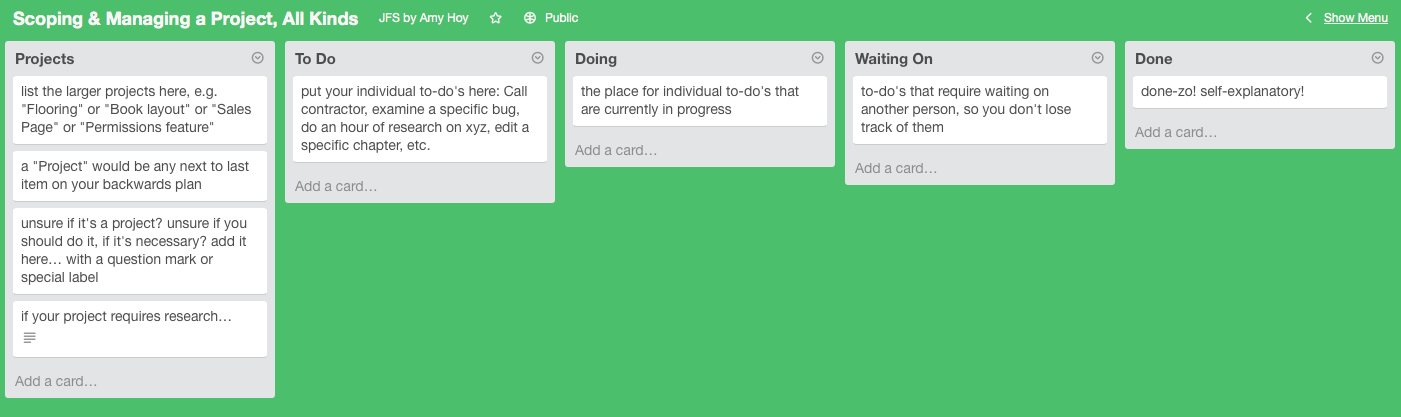 My basic Trello setup