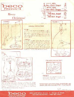 Beco Products Boy Choir Singer #973, Girl Choir Singer #974, Boy Angel #962, Girl Angel #963 Instruction Manual (06/1963) preview