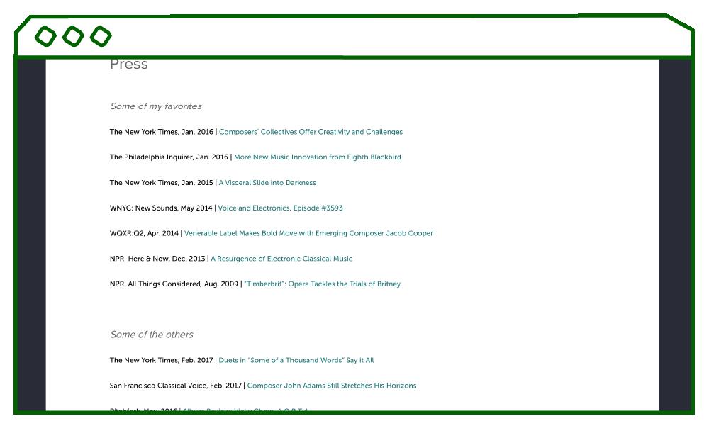 desktop display of press page