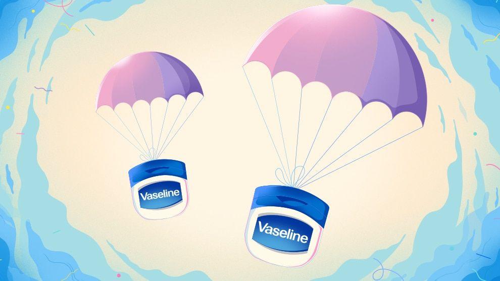 Vaseline tubs on a parachute