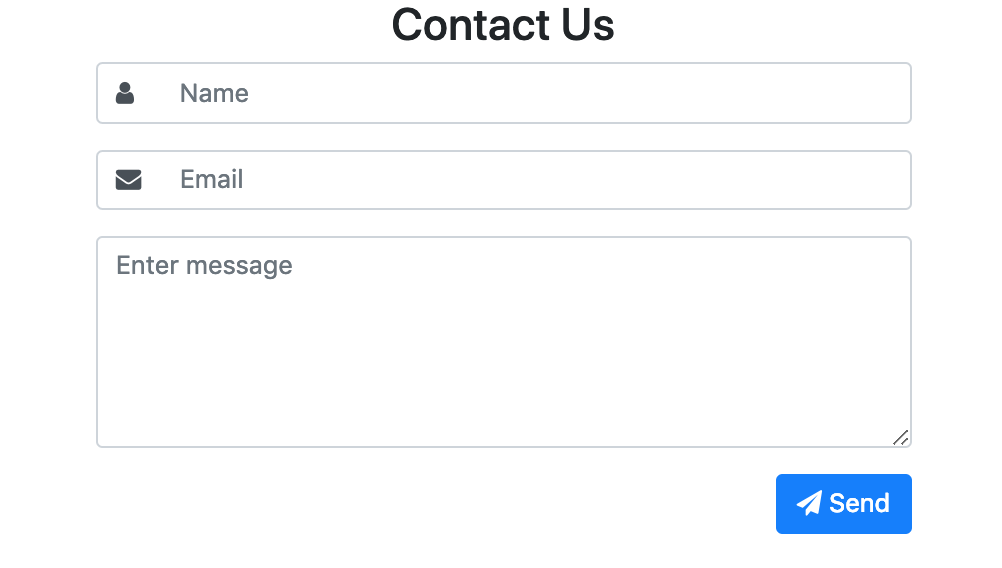 Contact form with name and icons