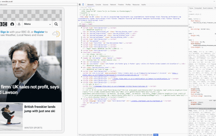 BBC in Chrome Remote Debugger