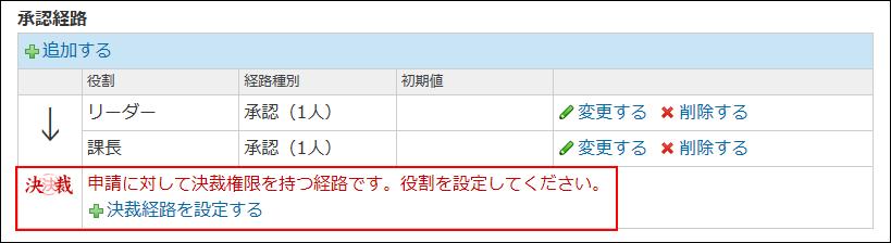 決裁経路を設定する操作リンクが表示された画像