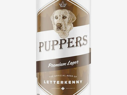 Puppers Beer is the official beer of Letterkenny. It is brewed by Stack Brewing of Sudbury, Ontario