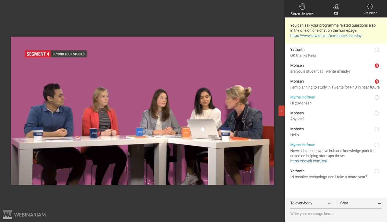 Screenshot of Online Open Day, 5 panelists