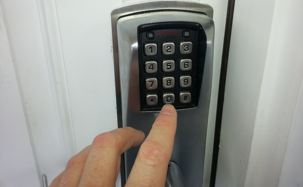 A combination door lock is one possible countermeasure in a layered security approach