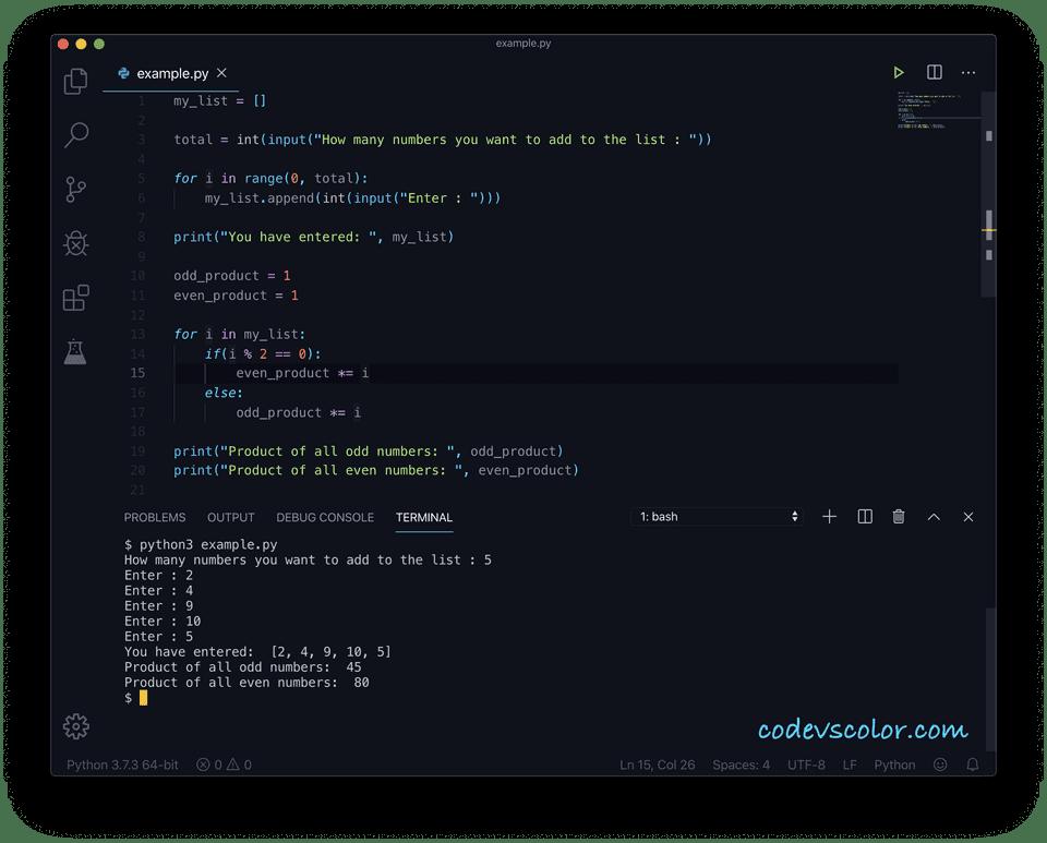 Python product odd even list