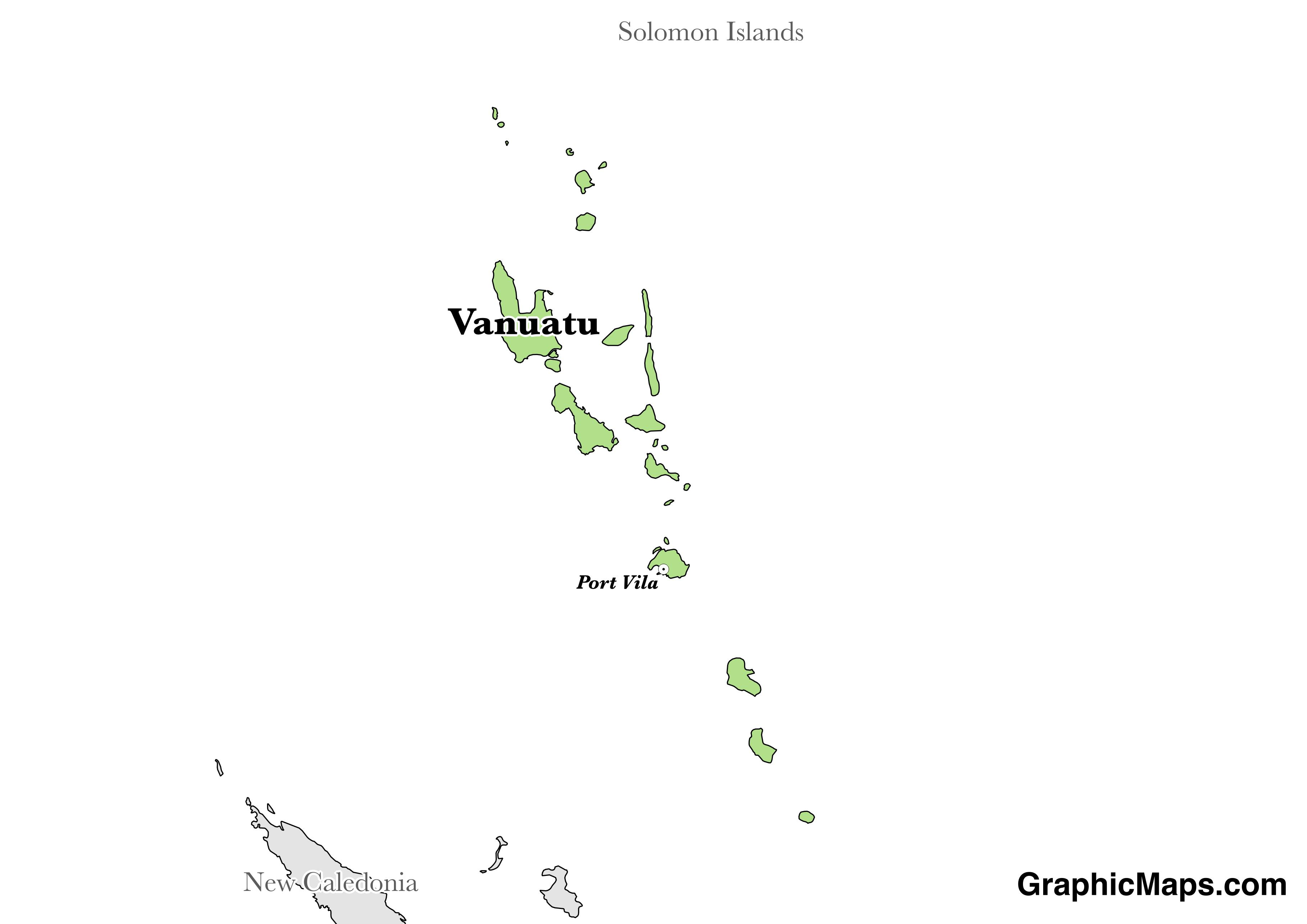 Map showing the location of Vanuatu