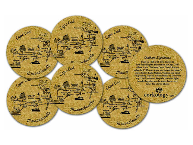 A set of beer coasters that are Cape Cod themed.