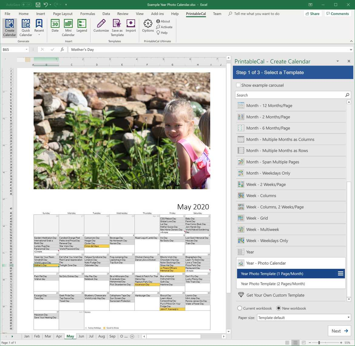 Create printable calendars in Excel and Word.