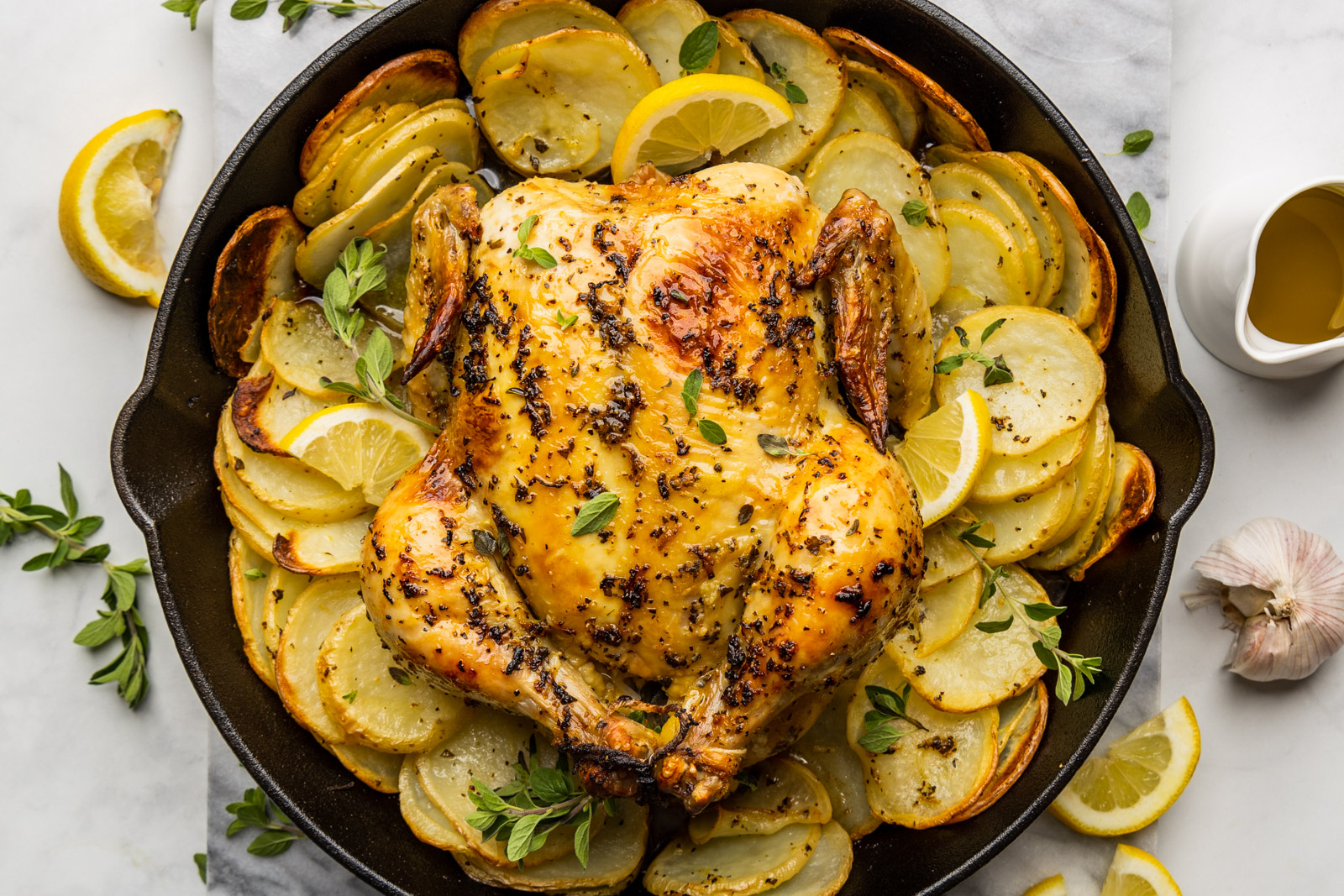 Greek Style Skillet Roast Chicken With Crispy Potatoes