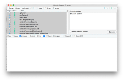 The initial commit brings many files under version control.