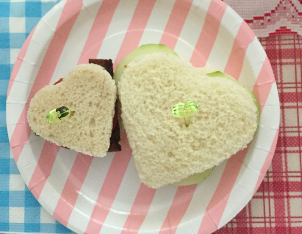 vegan heart tea sandwiches